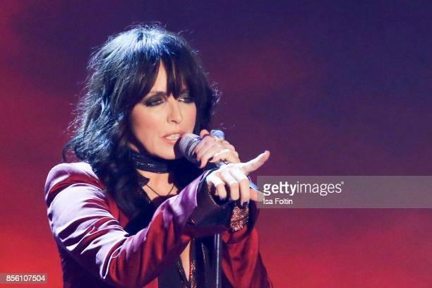German singer Nena performs during the tv show 'Willkommen bei Carmen Nebel' at TUI Arena on September 30 2017 in Hanover Germany