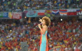 German singer Oceana performs during the closing ceremony of the Euro 2012 football championships before the final match Spain vs Italy on July 1...