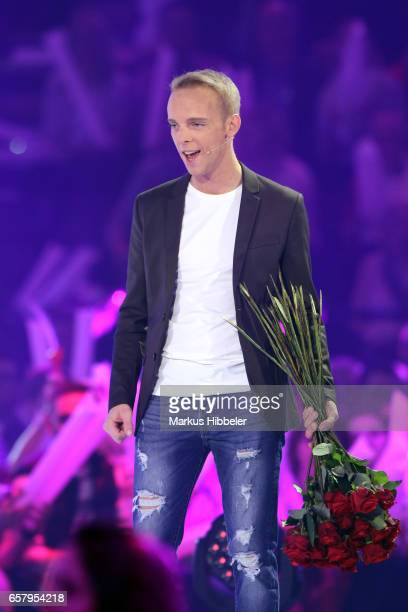 German singer Sandro during the show 'Schlagercountdown Das grosse Premierenfest' at EWE Arena on March 25 2017 in Oldenburg Germany