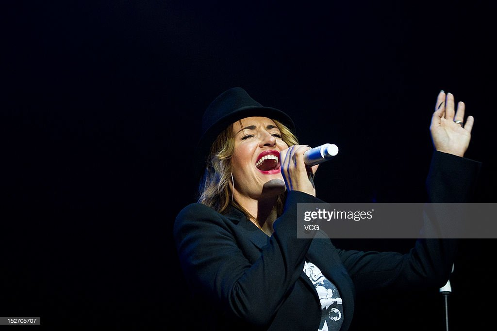 German singer Sarah Connor performs live in concert at Yunfeng Theater on September 22 2012 in Shanghai China