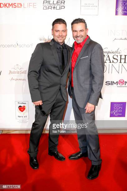 German singer Sebastian Haemer and Pedro Da Silva attend the Kempinski Fashion Dinner on May 23 2017 in Munich Germany