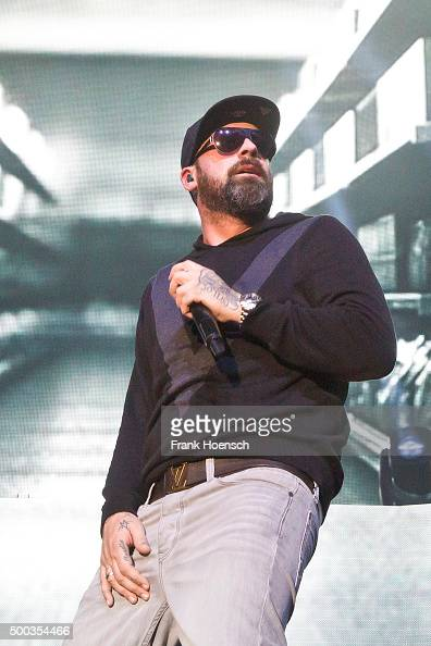German singer Sido performs live during a concert at the MaxSchmelingHalle on December 7 2015 in Berlin Germany