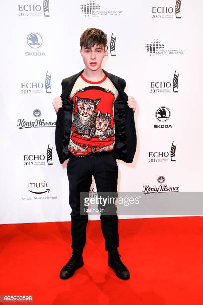 German singer songwriter Mike Singer during the Echo award red carpet on April 6 2017 in Berlin Germany