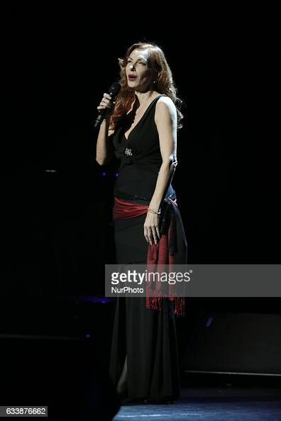 German singer Ute Lemper performs on stage at Pallas Theater in central Athens Greece on February 4 2017 Lemper returns to Athens with the show...