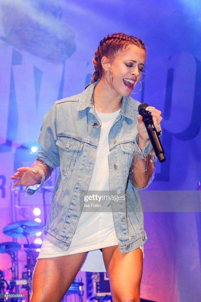 German singer Vanessa Mai performs at the SchlagerOlymp Open Air Festival at Freizeit und Erholungspark Luebars on August 12, 2017 in Berlin, Germany.