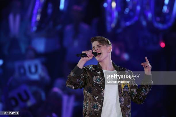 German singer Vincent Gross performs during the show 'Schlagercountdown Das grosse Premierenfest' at EWE Arena on March 25 2017 in Oldenburg Germany