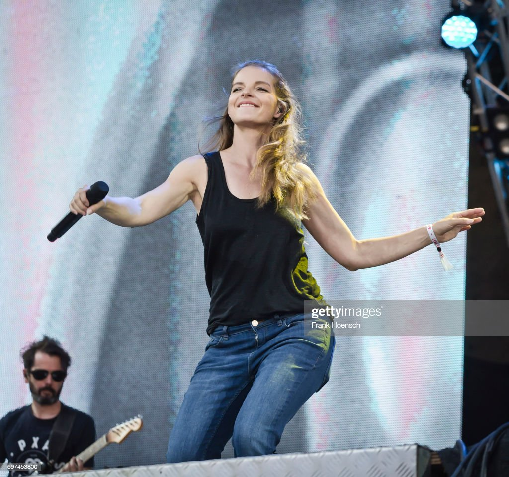 German singer Yvonne Catterfeld performs live on stage during the Peace X Peace Festival at the Waldbuehne on June 18, 2017 in Berlin, Germany.