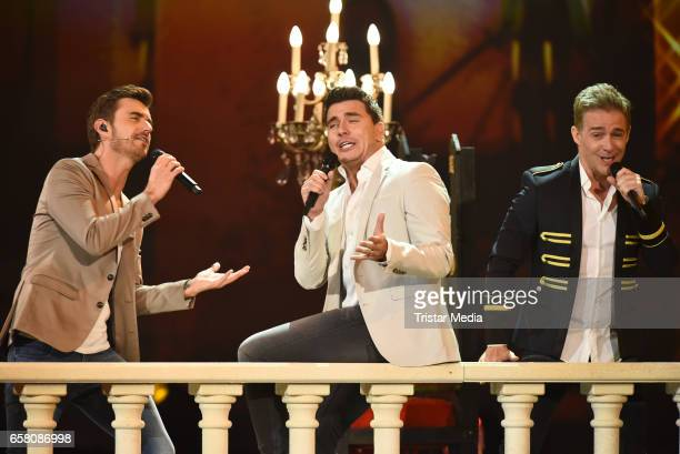 German singers Florian Silbereisen Jan Smit Christoff De Bolle of the band 'Klubbb 3' perform during the show 'Schlagercountdown Das grosse...