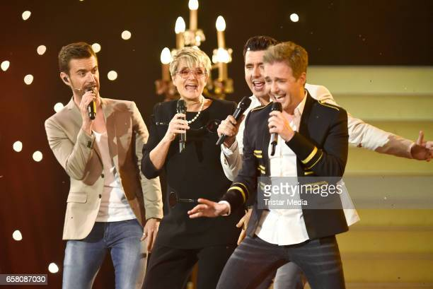 German singers Florian Silbereisen Jan Smit Christoff De Bolle of the band 'Klubbb 3' and Gloria von Thurn und Taxis perform during the show...