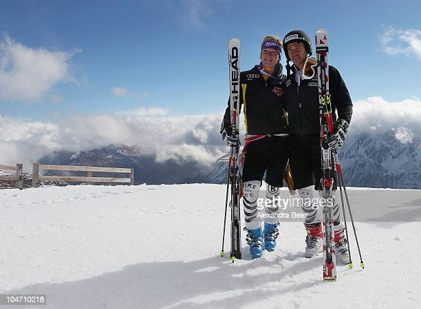 German skier Maria Riesch and Felix Neureuther pose for photographers after a training session on October 4 2010 in Solden Austria