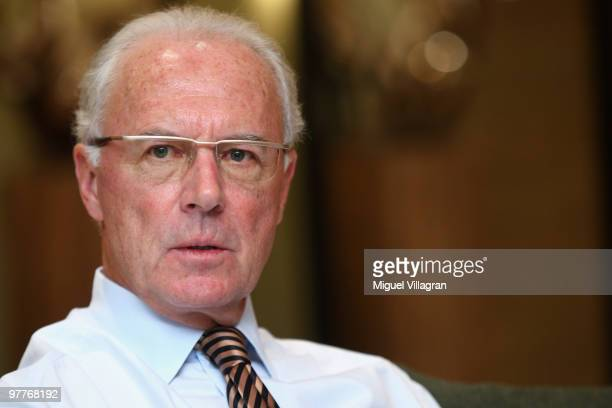 German soccer legend Franz Beckenbauer is pictured during an interview with Sport Bild on November 23 2009 in Kitzbuhel Austria