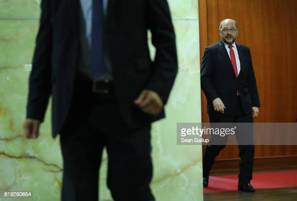 German Social Democrat and chancellor candidate Martin Schulz and German Foreign Minister Sigmar Gabriel emerge before Gabriel spoke to the media...