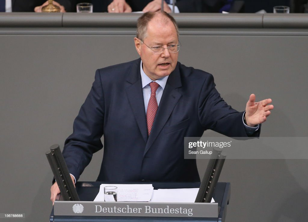 German Social Democrat (SPD) chancellor candidate Peer Steinbrueck speaks during debates at the Bundestag over the 2013 federal budget on November 21, 2012 in Berlin, Germany. Bundestag members are debating the budget over four days this week.