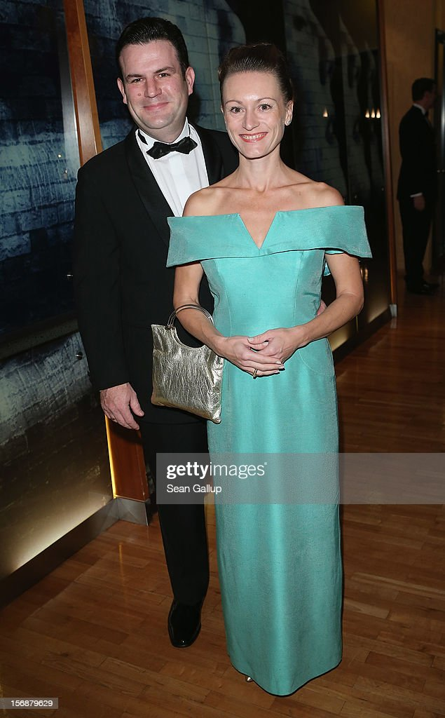 German Social Democrat (SPD) Hubertus Heil and his partner Solveig Orlowski attend the 2012 Bundespresseball (Federal Press Ball) at the Intercontinental Hotel on November 23, 2012 in Berlin, Germany.