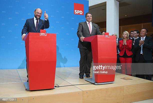 German Social Democrat Martin Schulz who has been leading in pools to become the next president of the European Commission celebrates with SPD...