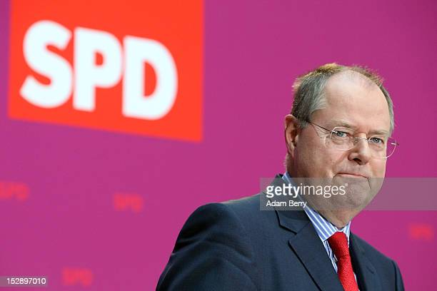 German Social Democrat Peer Steinbrueck reacts while giving a statement to the press on September 28 2012 in Berlin Germany The German Social...