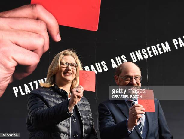 German Social Democratic Party candidate for Chancellery Martin Schulz SPD's top candidate in Saarland's upcoming regional elections Anke Rehlinger...