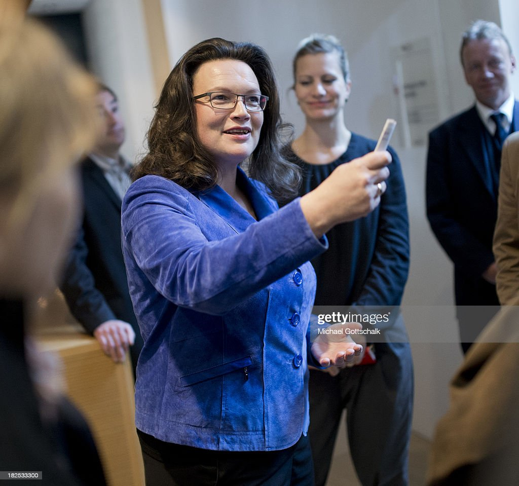 German Social Democratic Party (SPD) General Secretary <a gi-track='captionPersonalityLinkClicked' href=/galleries/search?phrase=Andrea+Nahles&family=editorial&specificpeople=822618 ng-click='$event.stopPropagation()'>Andrea Nahles</a> addresses reporters after a meeting of the SPD Governing Board at SPD headquarters on September 30, 2013 in Berlin, Germany.