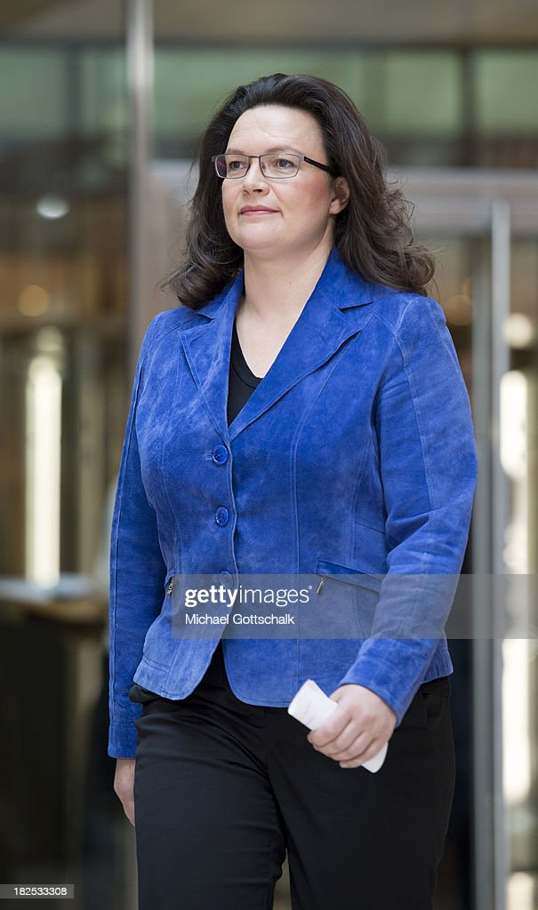 German Social Democratic Party (SPD) General Secretary <a gi-track='captionPersonalityLinkClicked' href=/galleries/search?phrase=Andrea+Nahles&family=editorial&specificpeople=822618 ng-click='$event.stopPropagation()'>Andrea Nahles</a> arrives at a press conference after a meeting of the SPD Governing Board at SPD headquarters on September 30, 2013 in Berlin, Germany.