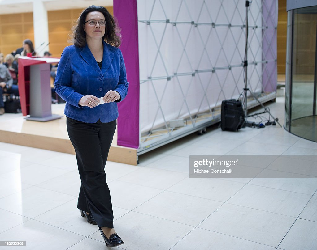 German Social Democratic Party (SPD) General Secretary <a gi-track='captionPersonalityLinkClicked' href=/galleries/search?phrase=Andrea+Nahles&family=editorial&specificpeople=822618 ng-click='$event.stopPropagation()'>Andrea Nahles</a> leaves a press conference after a meeting of the SPD Governing Board at SPD headquarters on September 30, 2013 in Berlin, Germany.