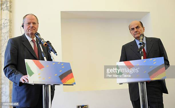 German Social Democratic Party's chancellery candidate Peer Steinbruck attends a joint press conference with Secretary of the Italian Democratic...