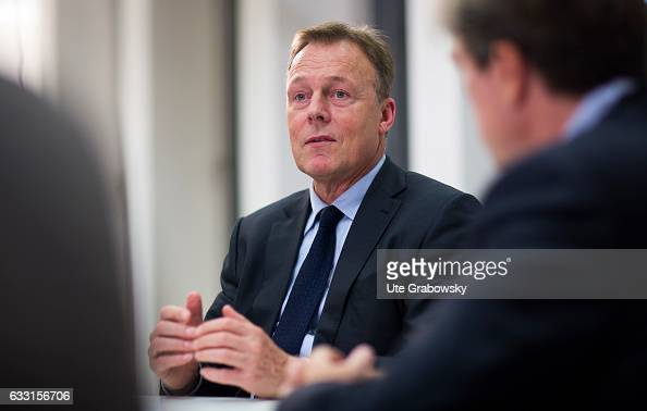 German Social Democrats Bundestag faction leader Thomas Oppermann gestures during an interview on January 17 2017 in Berlin Germany