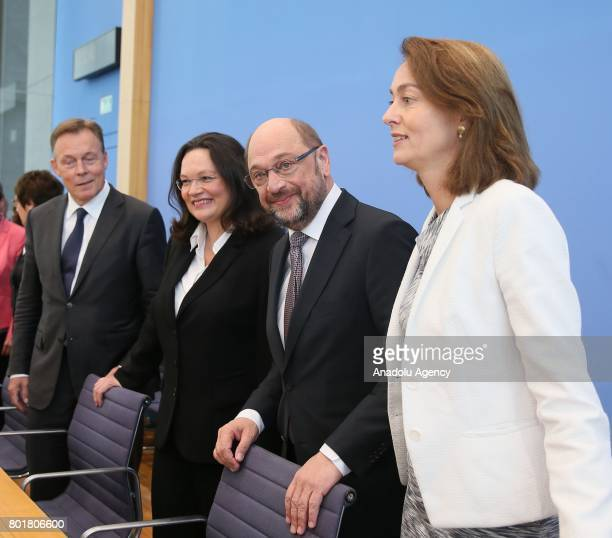 German Social Democrats Bundestag faction leader Thomas Oppermann German Minister of Labour and Social Affairs Andrea Nahles Leader of Germany's...