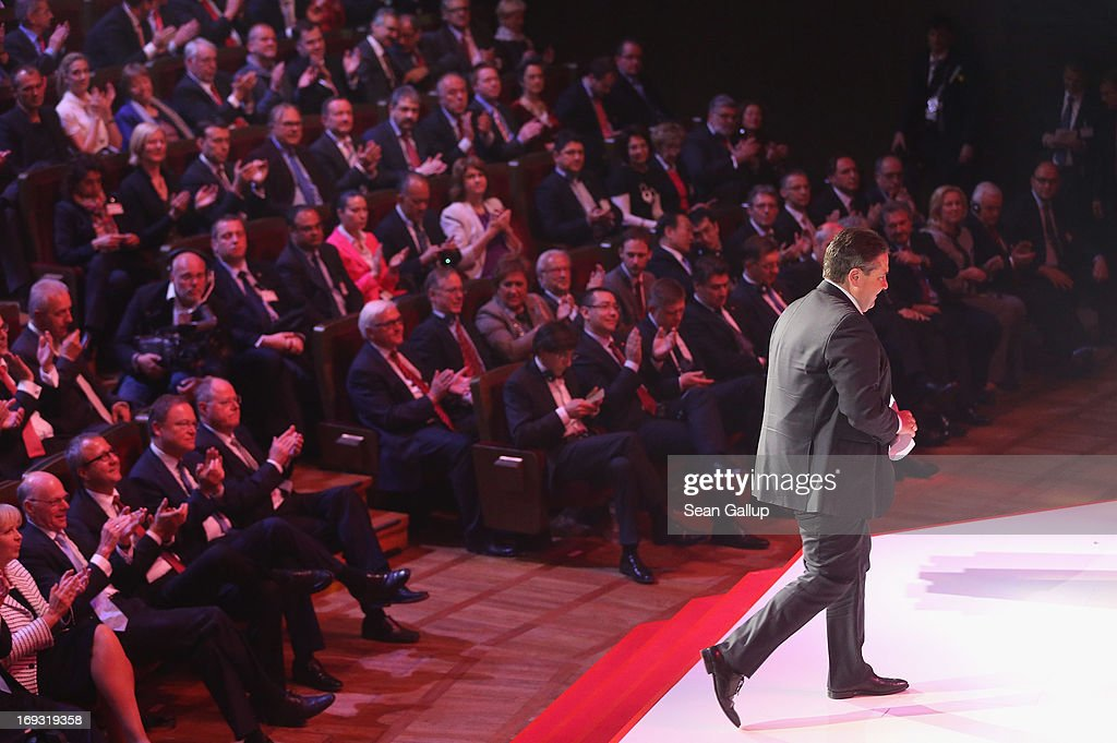 German Social Democrats (SPD) Chairman <a gi-track='captionPersonalityLinkClicked' href=/galleries/search?phrase=Sigmar+Gabriel&family=editorial&specificpeople=543927 ng-click='$event.stopPropagation()'>Sigmar Gabriel</a> prepares to speak at the 150th anniversary celebration of the SPD on May 23, 2013 in Leipzig, Germany. The SPD, Germany's main left-wing party, traces its history to the founding of the 'Allgemeine Deutsche Arbeiterverein' (General German Workers' Association) in Leipzig in May of 1863.