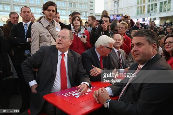 German Social Democrats chancellor candidate Peer Steinbrueck along with SPD Chairman Sigmar Gabriel and SPD Bundestag faction head FrankWalter...