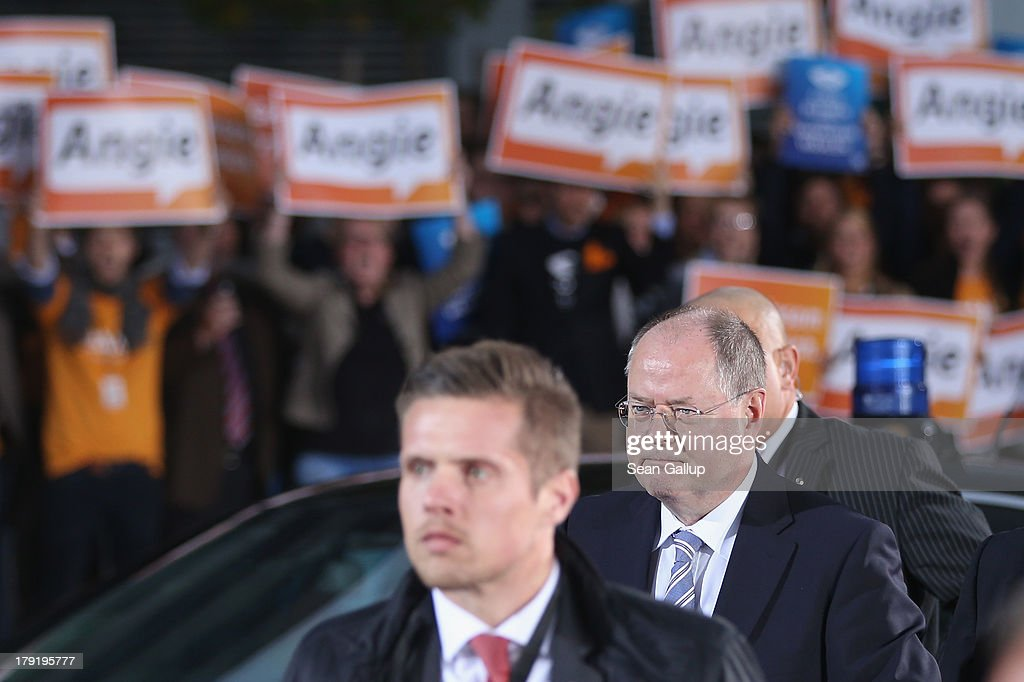 German Social Democrats chancellor candidate Peer Steinbrueck arrives at television studios for his teveision debate with German Chancellor and...