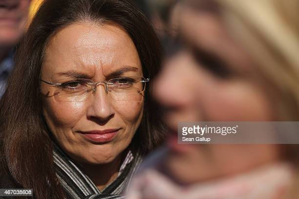 German Social Democrats General Secretary Yasmin Fahimi and Family Minister and SPD member Manuela Schwesig attend a rally for equal pay for women...