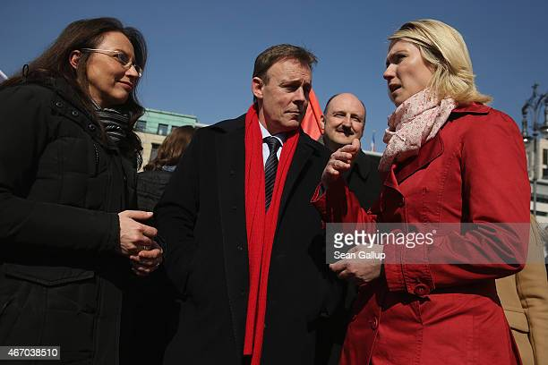 German Social Democrats General Secretary Yasmin Fahimi SPD Bundestag faction leader Thomas Oppermann and Family Minister and SPD member Manuela...