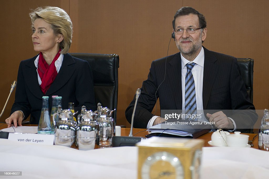 German Social Minister <a gi-track='captionPersonalityLinkClicked' href=/galleries/search?phrase=Ursula+von+der+Leyen&family=editorial&specificpeople=4249207 ng-click='$event.stopPropagation()'>Ursula von der Leyen</a> sits next to Spanish Prime Minister Mariano Rajoy at the Chancellery on February 4, 2013 in Berlin, Germany. The German and Spanish government are meeting for consultations, and the ongoing spanish economic downturn is likely to be high on the agenda.