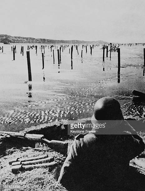 German Soldier Watching The Coast In Holland On June 1944
