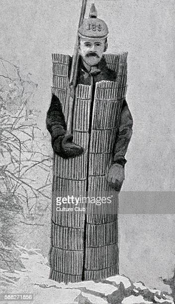 German soldier wearing straw coat during World War 1 Illustration from German newspaper of the time 1916