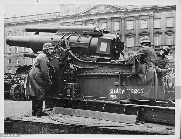 German soldiers demonstrating the use of an armored railway train during World War Two Leipzig Germany 19391945