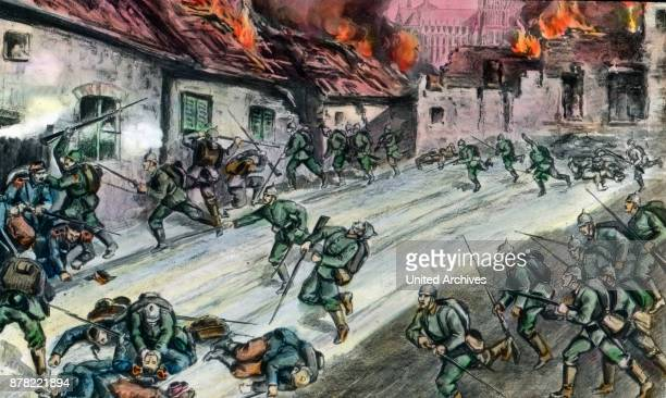 German soldiers fighting at a French village