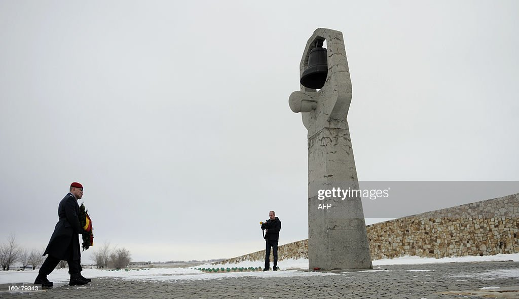 German soldiers lay a wreath at a monument to Red Army soldiers who died in the Battle of Stalingrad during the World War II, at a military cemetery in the Russian village of Rossoshka, some 40 km outside the city of Volgograd, formerly Stalingrad, on February 1, 2013. In a new display of national pride and reminder of its status as a world power, Russia remembers this weekend the Red Army victory in the battle of Stalingrad over invading Nazi forces, one of the bloodiest battles in human history.