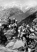 German soldiers on the march in the mountains of Crete
