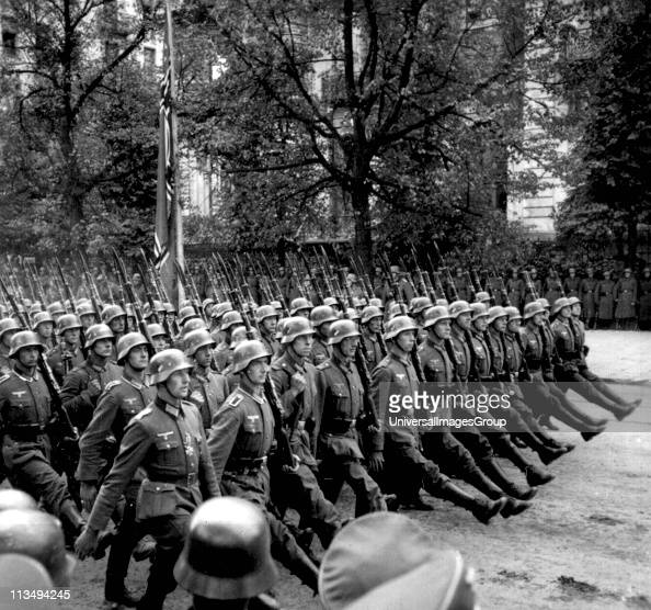 German soldiers parading in Warsaw after the invasion of Poland during World War II September 28 30th 1939 From a series of stereographic views...