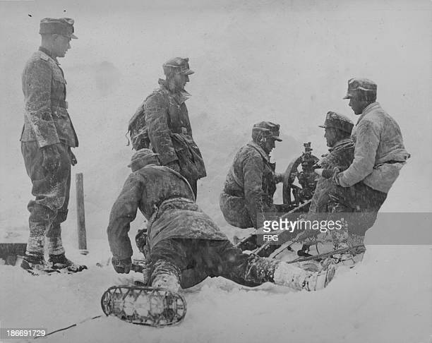 German soldiers training in the snow covered alps during World War Two Germany 19391945