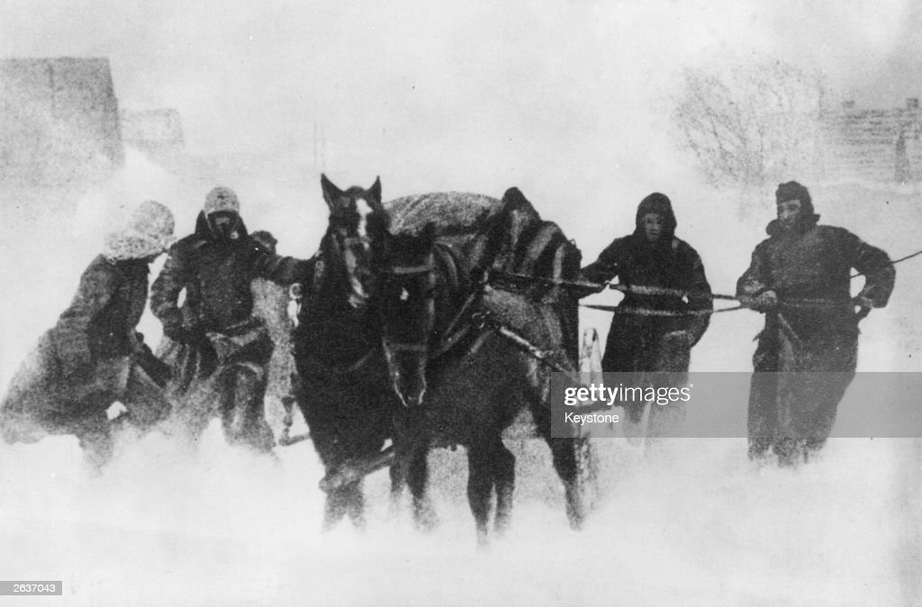 German soldiers using horse and cart in their retreat from the Ukraine during a snowstorm.