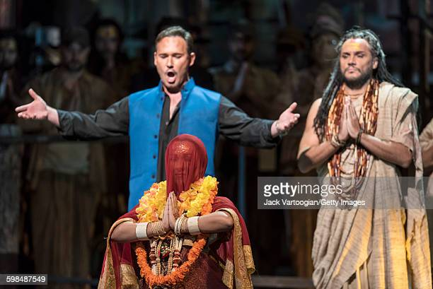 German soprano Diana Damrau with Polish baritone Mariusz Kwiecien and French bassbaritone Nicolas Teste perform at the final dress rehearsal prior to...