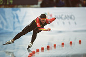 German speed skater Sabine Voelker competes in the women's 1000m at MWave during the 1998 Winter Olympic games