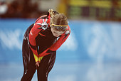 German speed skater Sabine Voelker slows down after competing in the women's 1000m at MWave during the 1998 Winter Olympic games