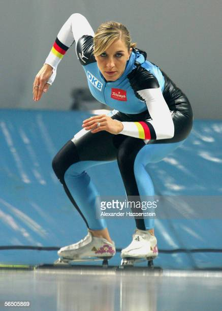 German speedskater Anni Friesinger in action during the making of a DKB advertising film at the SportsForm Hohenschoenhausen on December 30 2005 in...