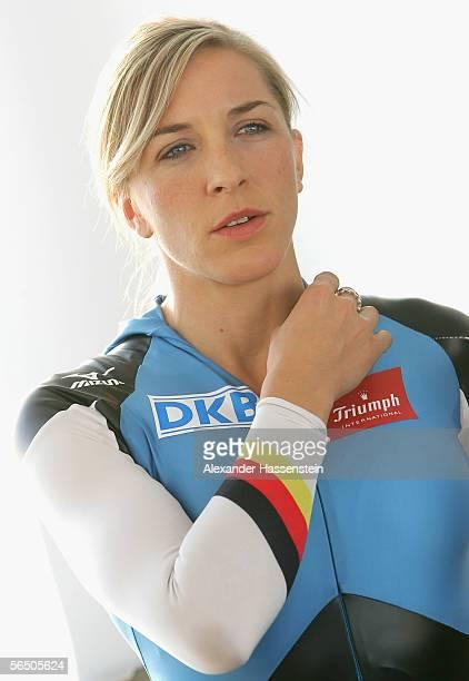 German Speedskater Anni Friesinger looks on during the making of a DKB advertising film at the SportsForm Hohenschoenhausen on December 30 2005 in...