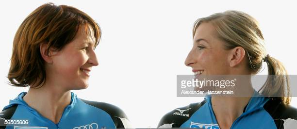 German Speedskater Claudia Pechstein and Anni Friesinger act during the making of a DKB advertising film at the SportsForm Hohenschoenhausen on...