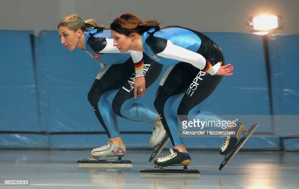 German speedskaters Anni Friesinger and Claudia Pechstein in action during the making of a DKB advertising film at the SportsForm Hohenschoenhausen...