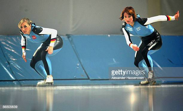 German speedskaters Anni Friesinger and Claudia Pechstein seen during the making of a DKB advertising film at the SportsForm Hohenschoenhausen on...